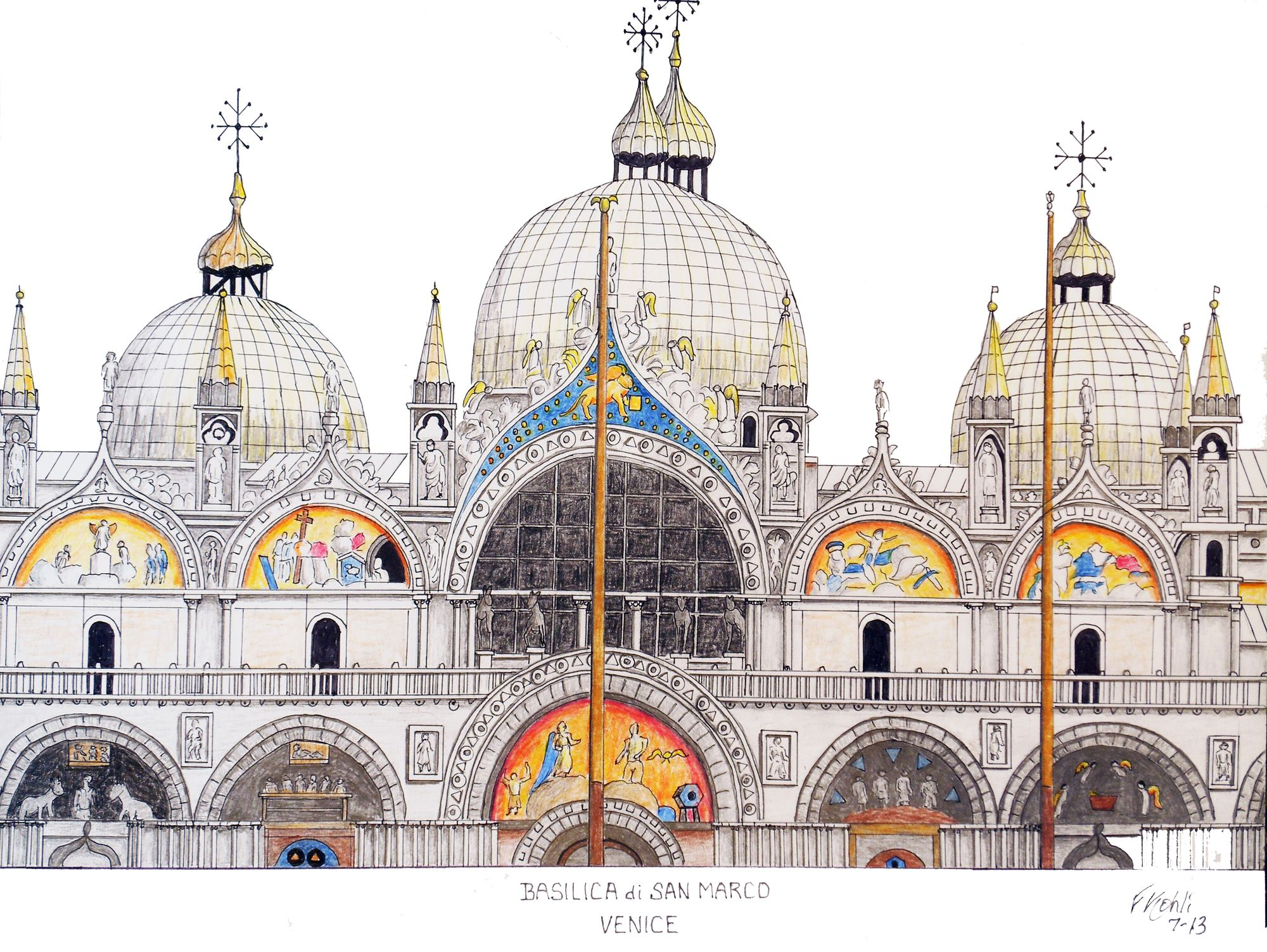 VENICE CATHEDRAL - ITALY Pen and pencil drawing. For prints, go to: http://frederic-kohli.artistwebsites.com