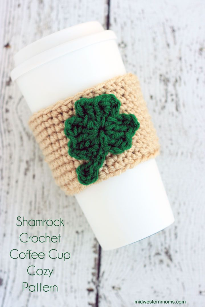 Shamrock Crochet Coffee Cup Cozy Pattern