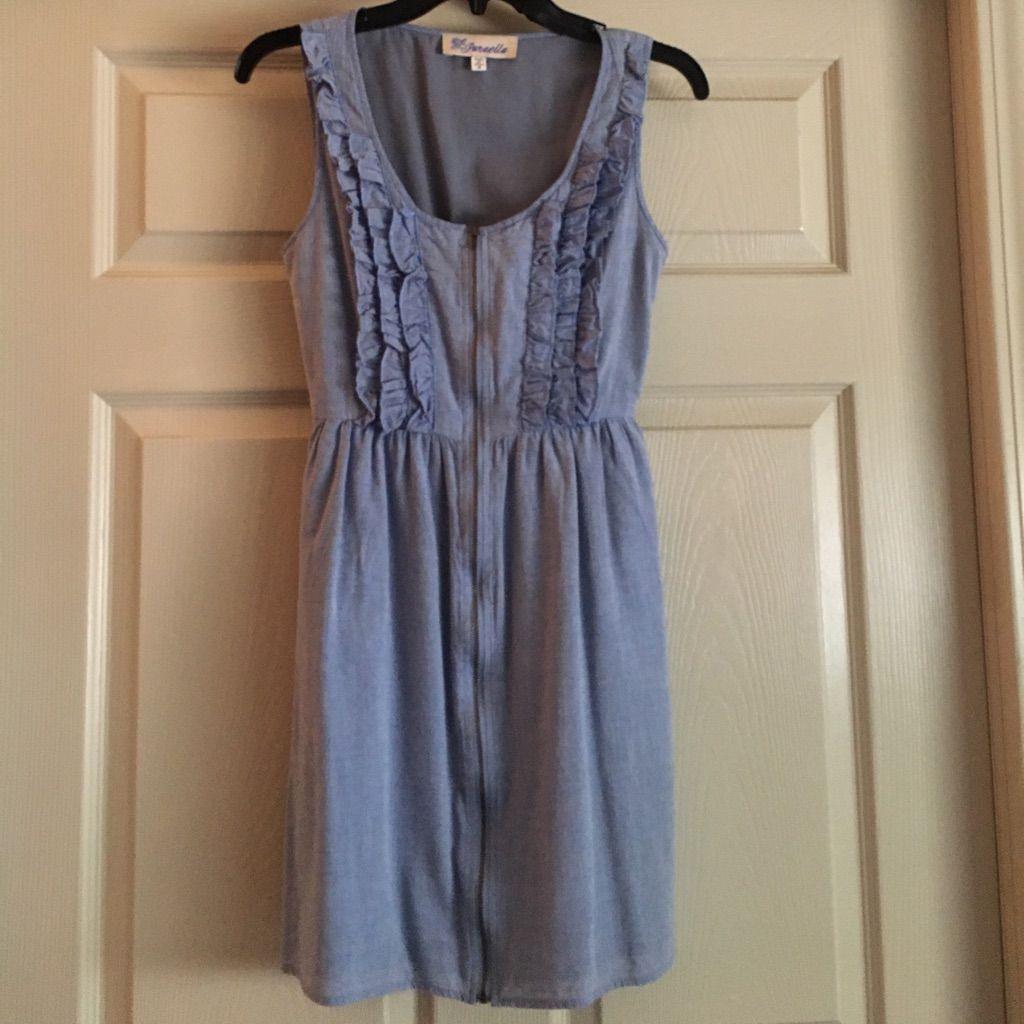 Chambray Ruffle Dress (Nursing Friendly)