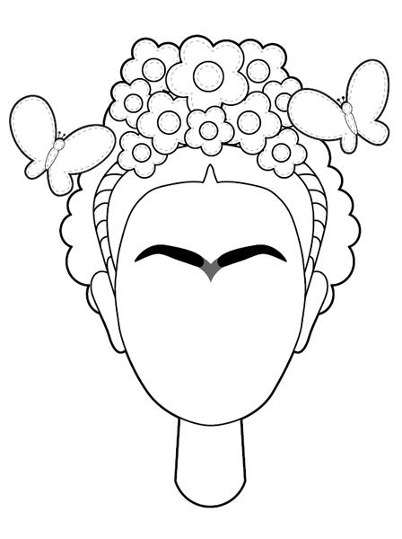 Frida Kahlo Autorretrato Per A Pintar Para Colorear Bordado