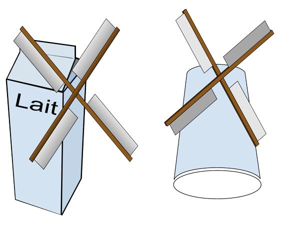 moulin à vent, à partir d'un tube de papier toilette (mais pas que