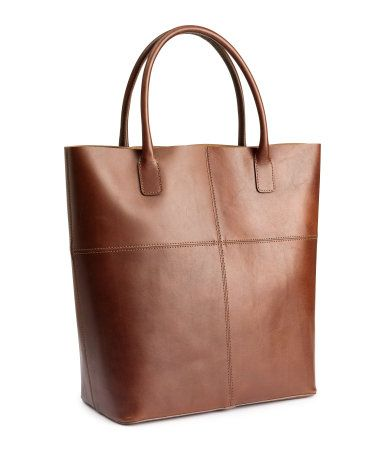 fb8aab8682e8 Premium quality, classic brown leather tote. | H&M Accessories | H&M ...