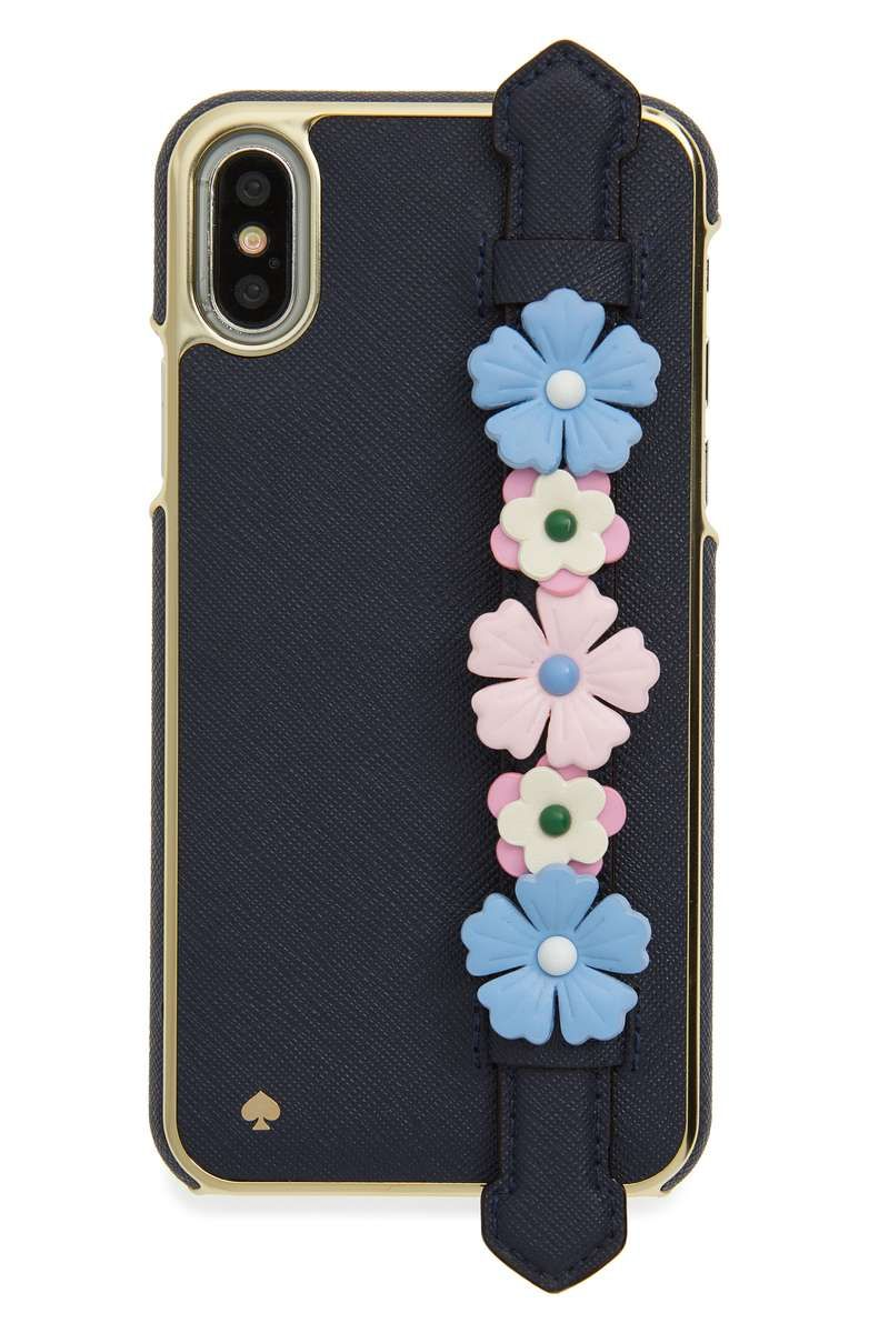 42844e45f71 Main Image - kate spade new york floral hand strap stand iPhone X case