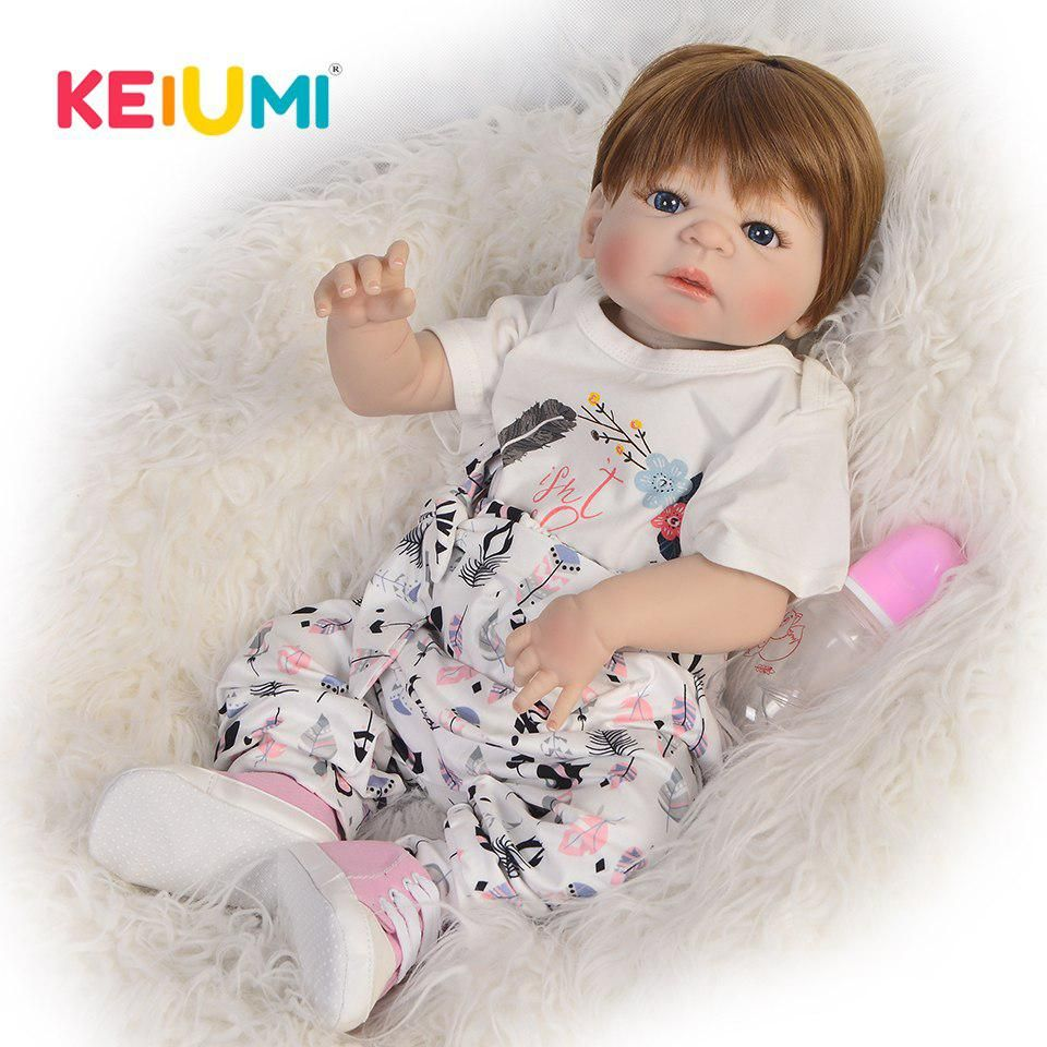 Wholesale 57 Cm Newborn Doll Baby Girl Lifelike Full Body Silicone Vinyl Reborn Babies Dolls 23 Inch Kids New Year Playmates Reborn Baby Dolls Newborn Reborn Babies