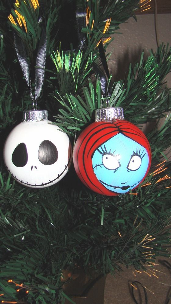 Jack Skelington And Sally Ornaments Great For Car Or Home 16 00 Not Painting As Of Now Christmas Ornaments Nightmare Before Christmas Christmas