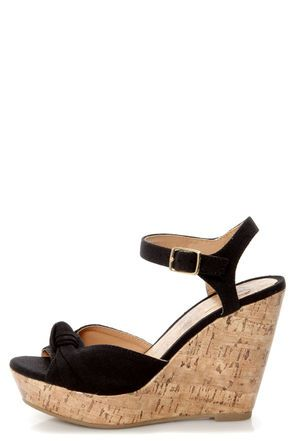 4842dc965e53 My Delicious Susie Black Cotton Knotted Peep Toe Wedge Sandals - casual everyday  wedges