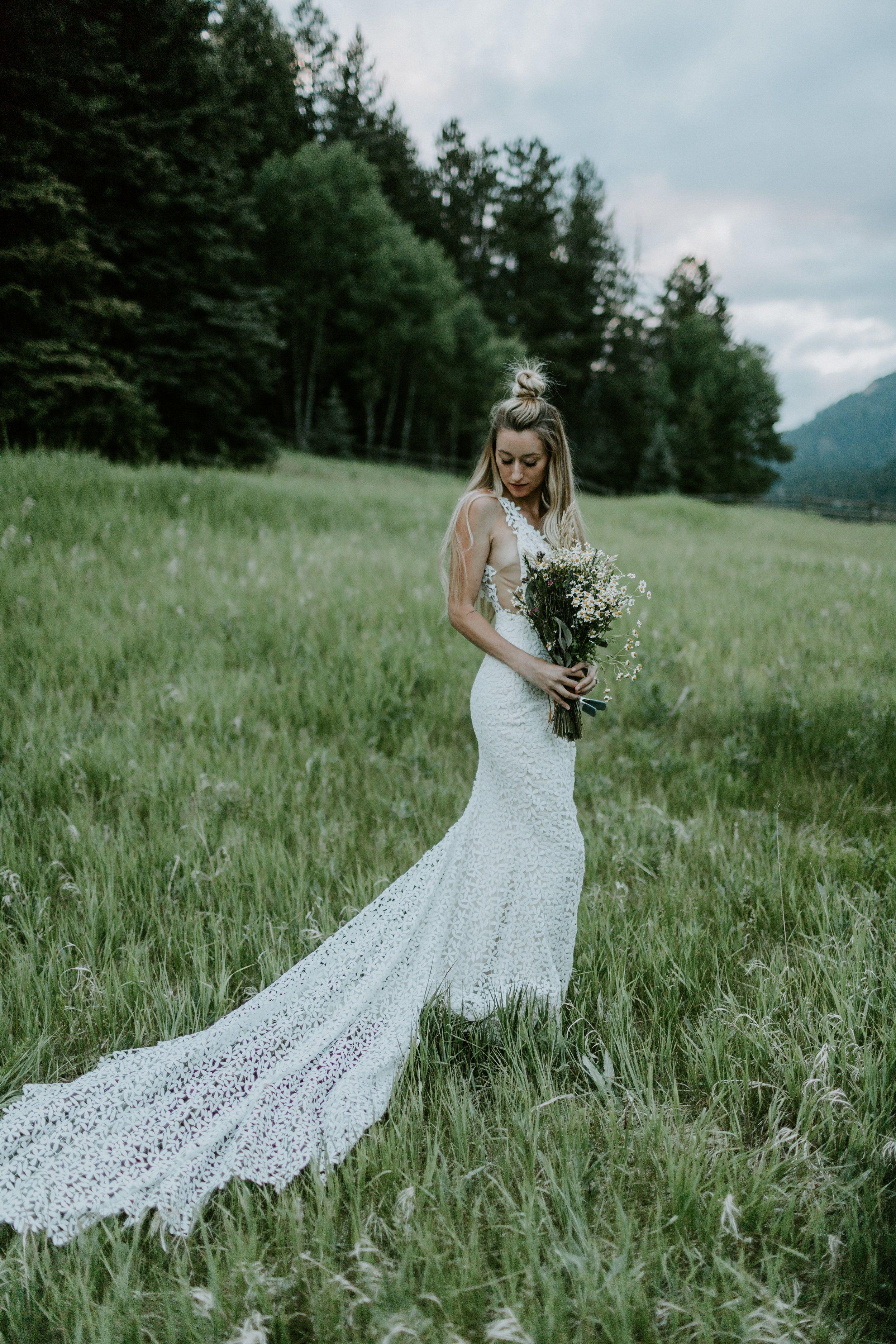 Modern boho mountain elopement wedding florals pinterest