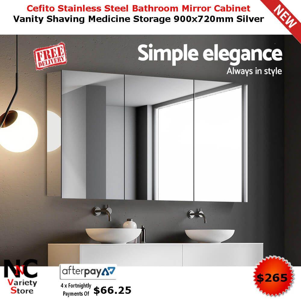 Cefito Stainless Steel Bathroom Mirror Cabinet Vanity Shaving Medicine Storage 900x720mm Silver Mirror Cabinets Stainless Steel Bathroom Mirror