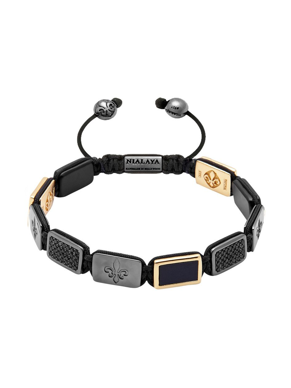 Flatbead bracelet lux plate with black cz diamonds nialaya jewelry