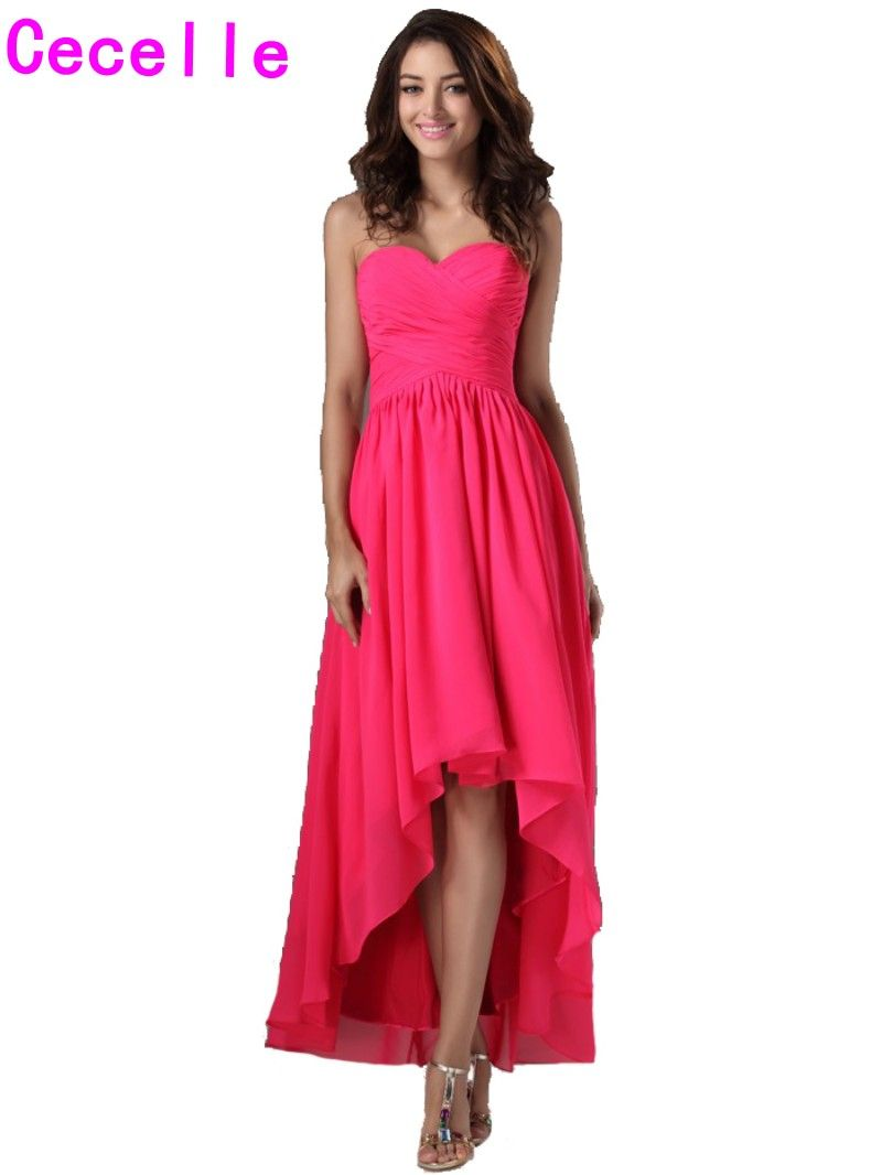 Click to buy 2017 real long high low fuchsia bridesmaid dresses click to buy 2017 real long high low fuchsia bridesmaid dresses for ombrellifo Gallery