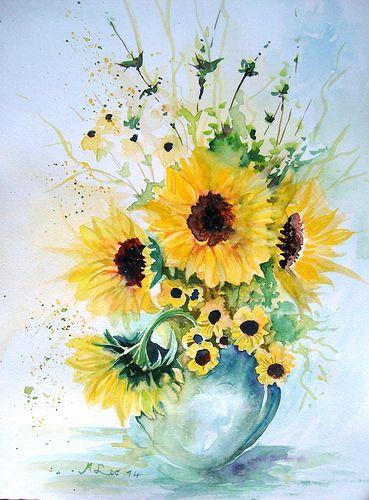 14++ Watercolor sunflower in vase trends