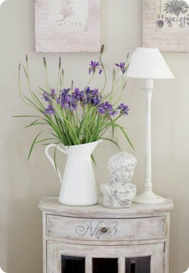 Cottage Decor: White Jug with Purple Flowers