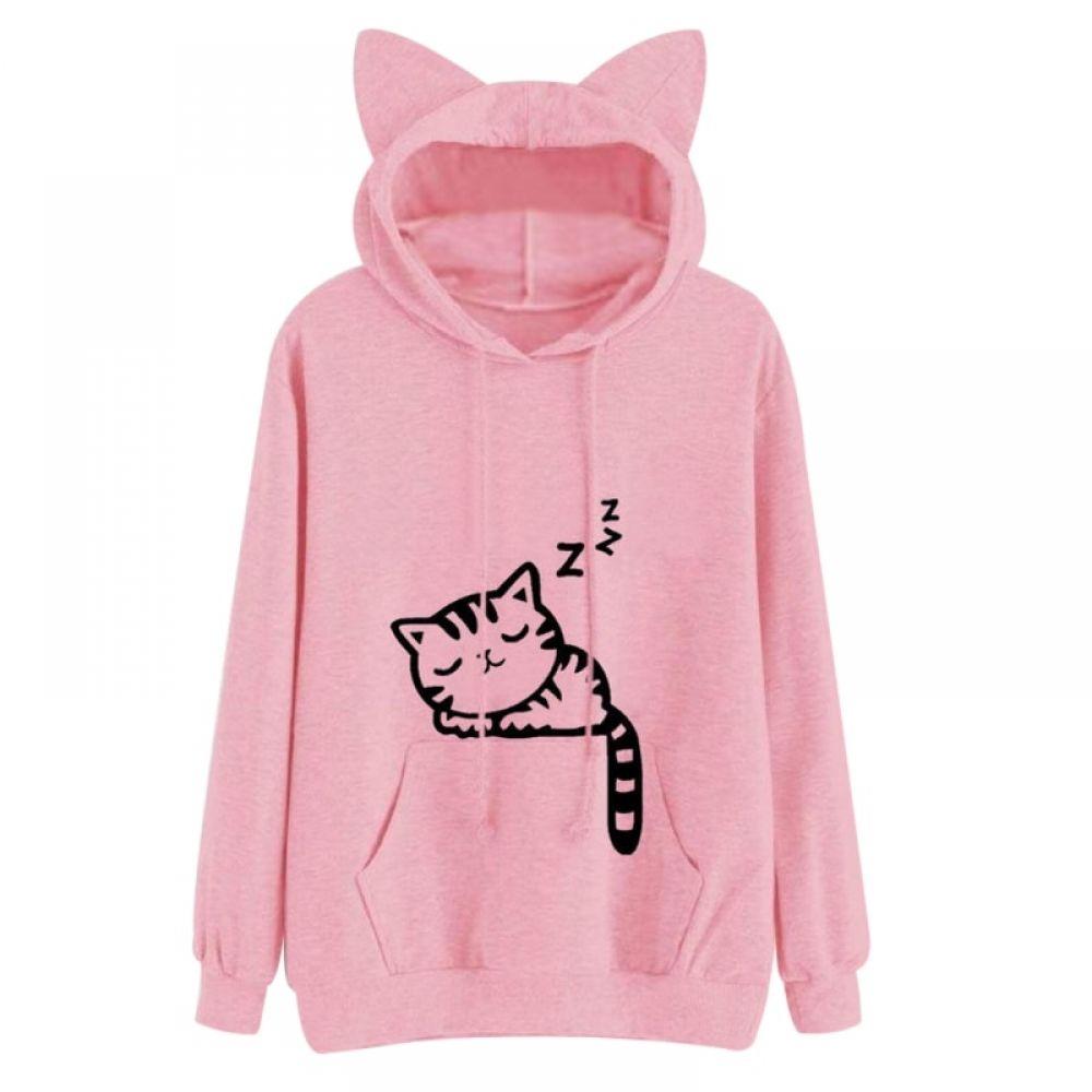 Womens Cat Ear Solid Long Sleeve Hoodie Sweatshirt Hooded Pullover Tops Blouse P