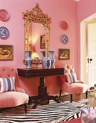seeing pink everywhere...zebra rug and gilt frame make it fresh and ...