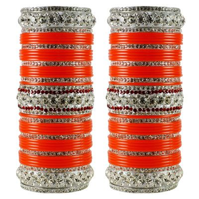 Vidhya Kangan Brass Women Bangles Color   Orange Bangles on Shimply.com