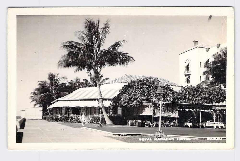 RPPC Real Photo Postcard Hawaii Waikiki Royal Hawaiian Hotel Navy 1942 Hand CANC | eBay