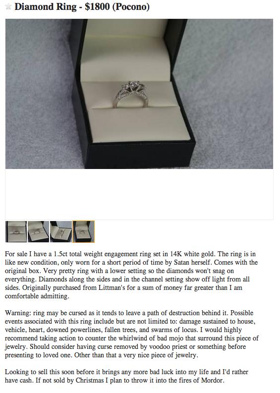 Man sells engagement ring on Craig's list. - Imgur