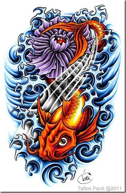 Tatuagem De Carpa Com Rosa Rocha Mar E Agua Tattoo Hard Carpa