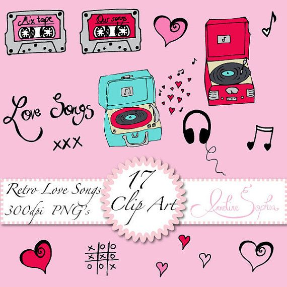 Retro Music Clip Art Mixtape Clipart Record by AnnelineSophia, £1 71