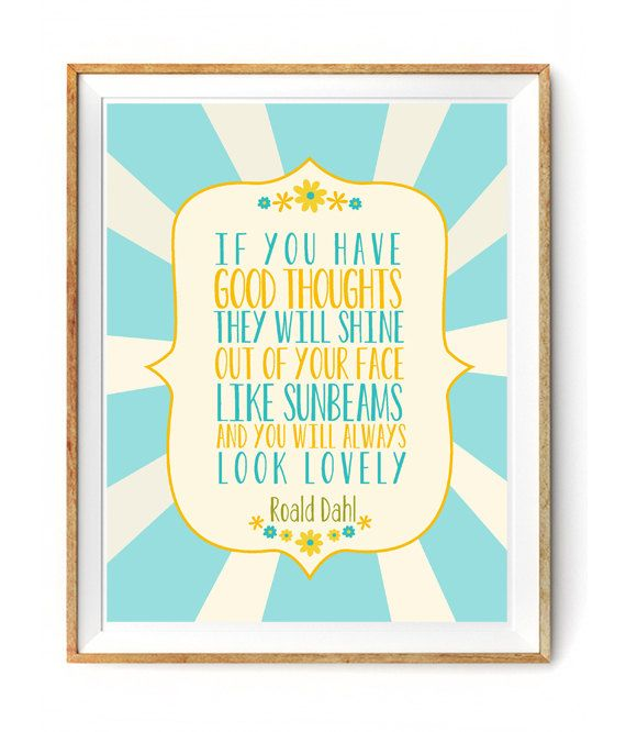 Roald Dahl Quote about Sunbeams - Cute Print for a Little Girls ...