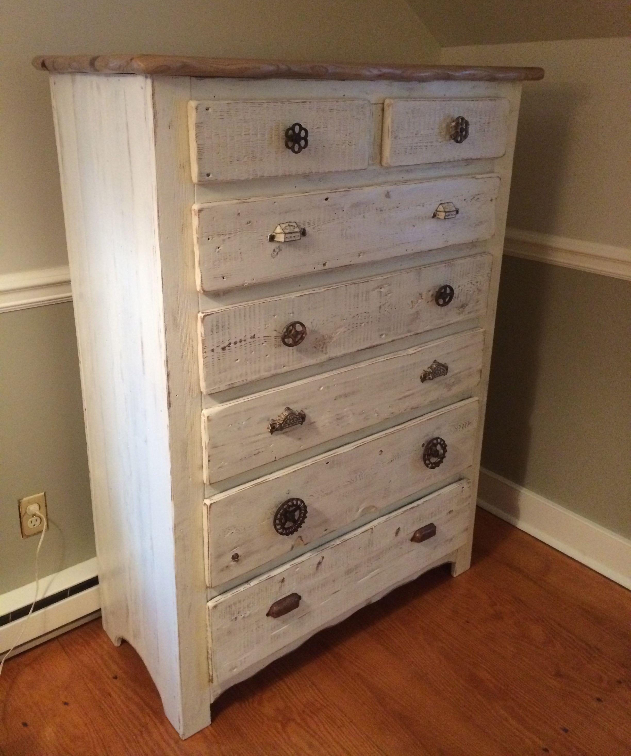 Custom Highboy Dresser In Antique Whitewash Native Sassafras Top W Natural Edge All Vintage Vintage Dresser Makeover Rustic Dresser Dresser Makeover White
