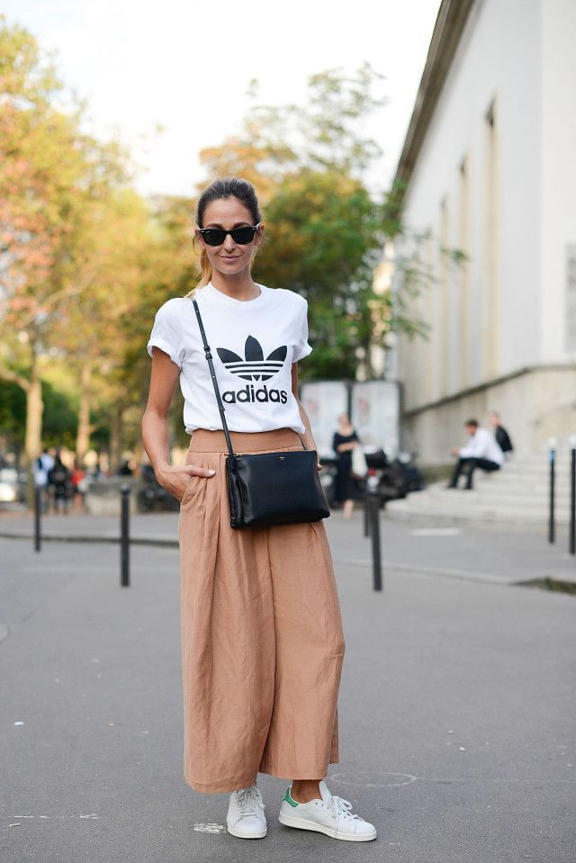adidas-culottes-wide-leg-pants-blush-peach-adidas -sneakers-white-sneakers-stan-smith-adidas-tshirt-tee-graphic-tee-normcore-sportyPFW-Street-Style-time-via-  ... dc91d4091096c