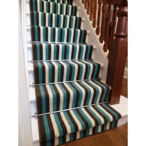 Best Details About Broad 1 Brown Blue Stripe Stair Carpet 400 x 300
