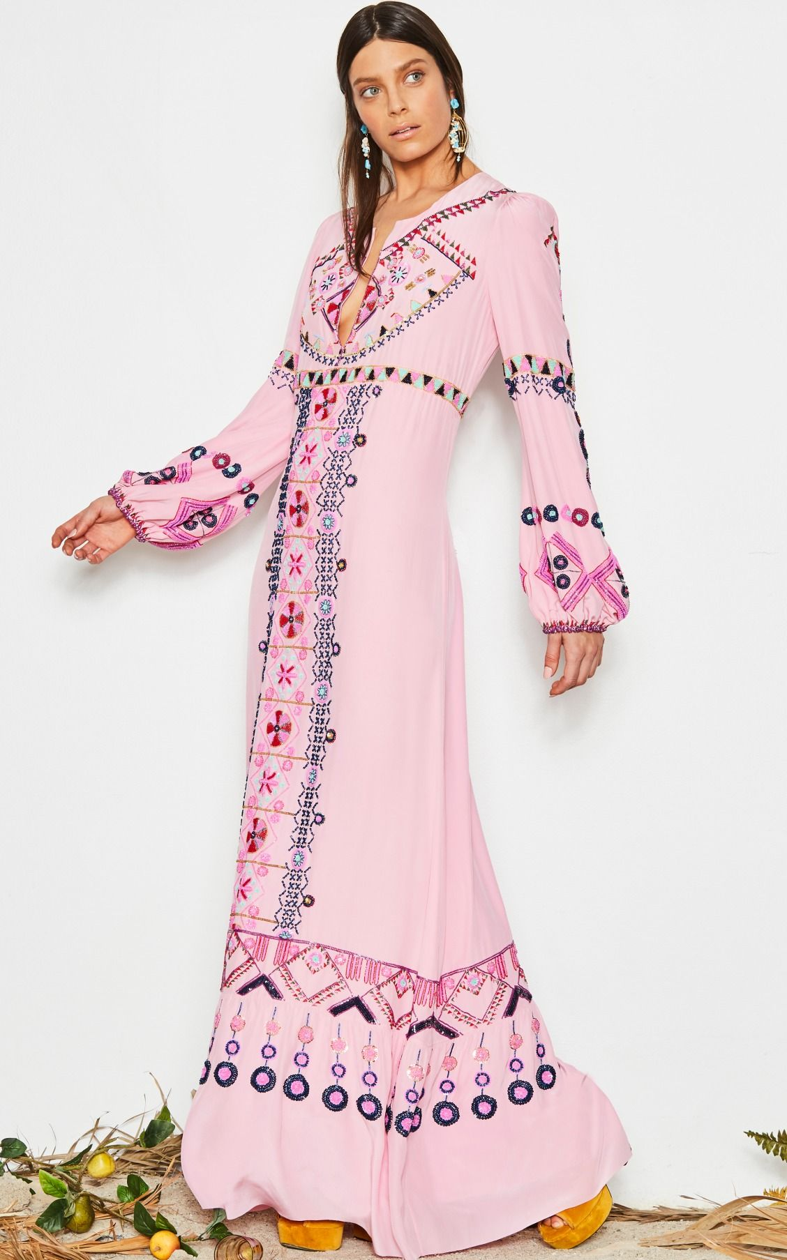 Pale Pink Embroidered Gown by Figue   cazual style   Pinterest ...