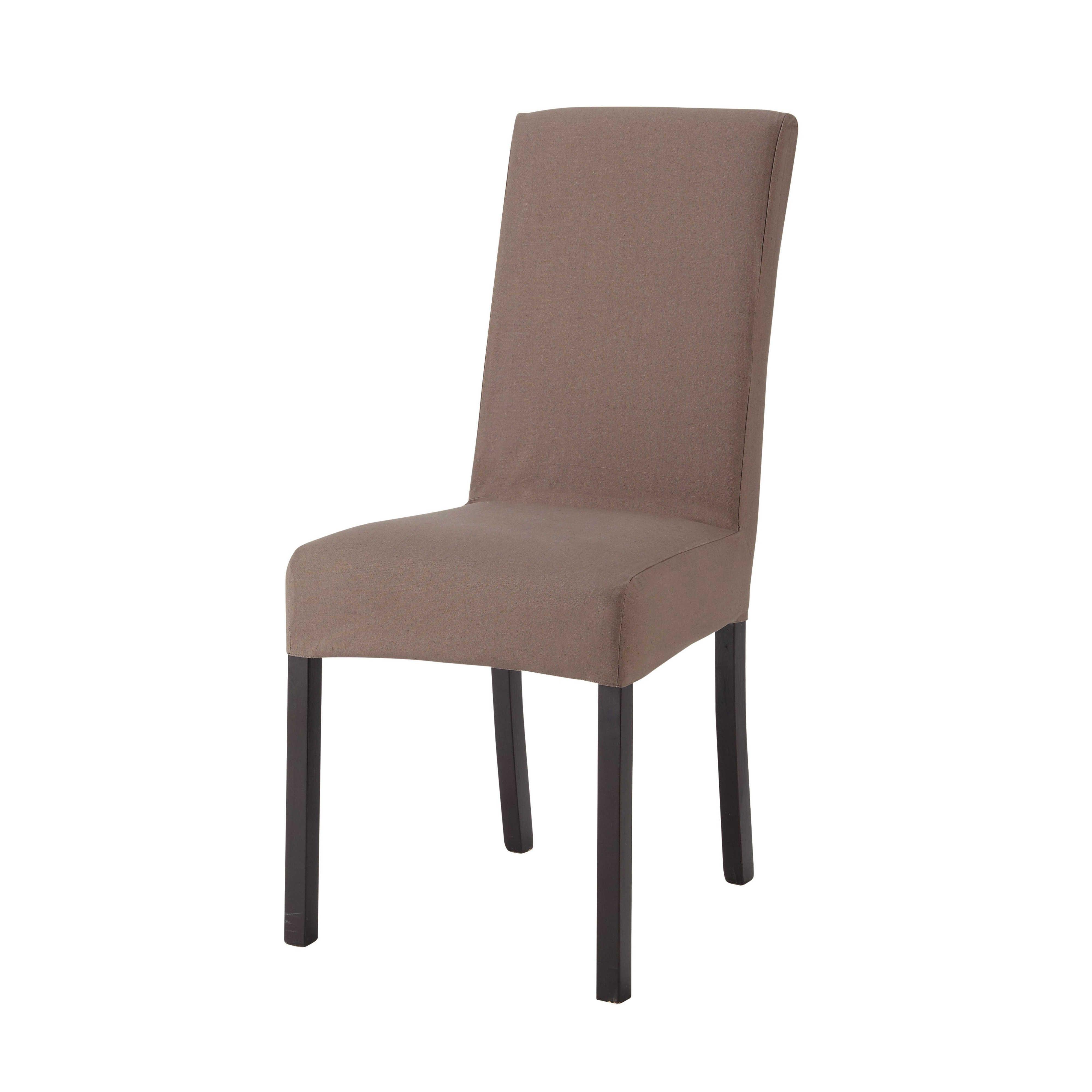 Housse de chaise en coton taupe | Meubles | Housse de chaise, Chaise ...