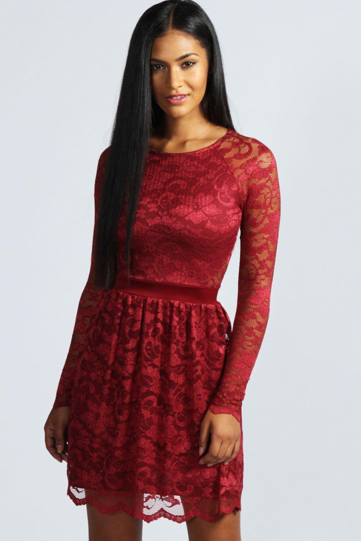 Jasmine long sleeve zip back lace dress on chiq