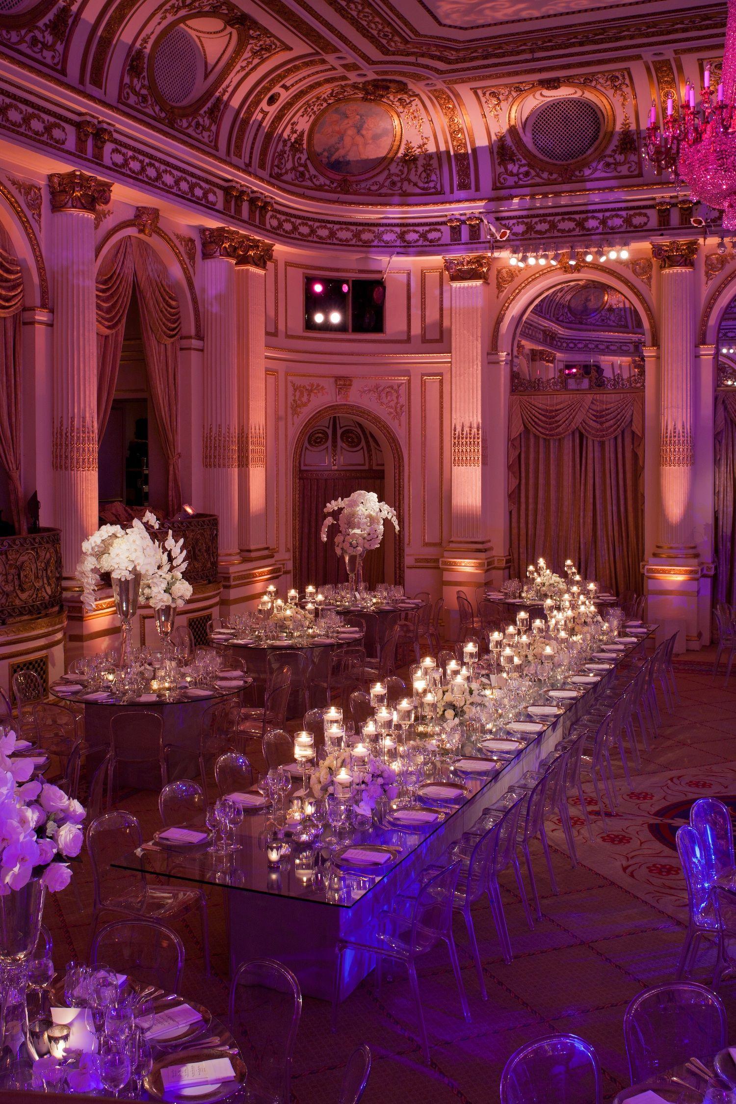 Opulent New York City Wedding With Violet Lighting Weddingparty