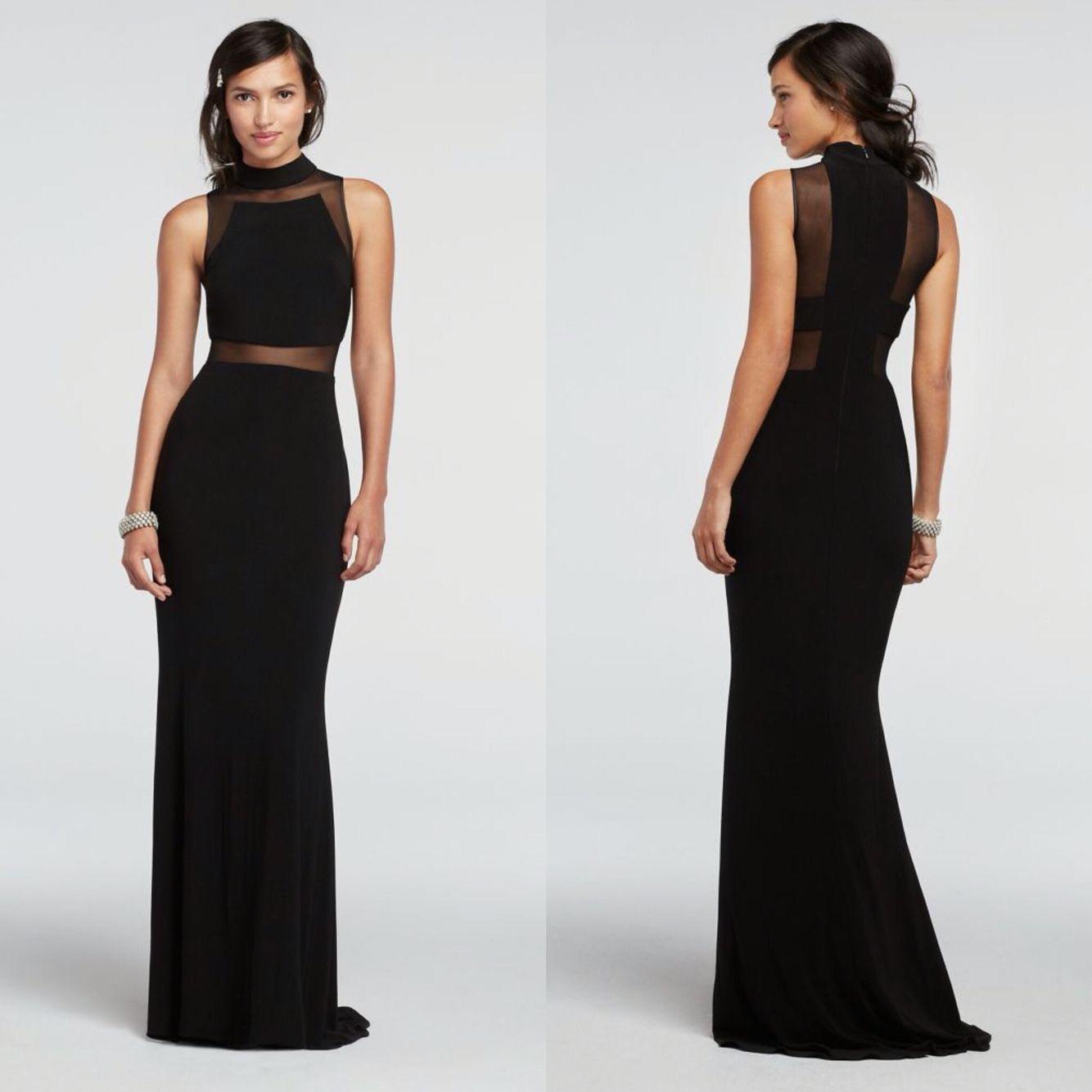 David S Bridal Prom Dress Black With Sheer Illusion