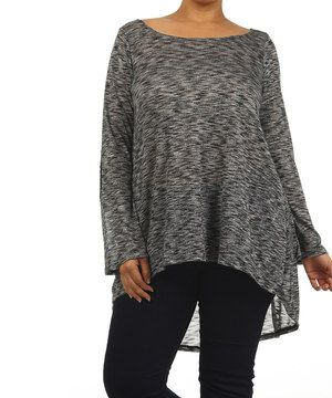 Another great find on #zulily! J-MODE USA Charcoal Sheer Hi-Low Top - Plus by J-MODE USA #zulilyfinds