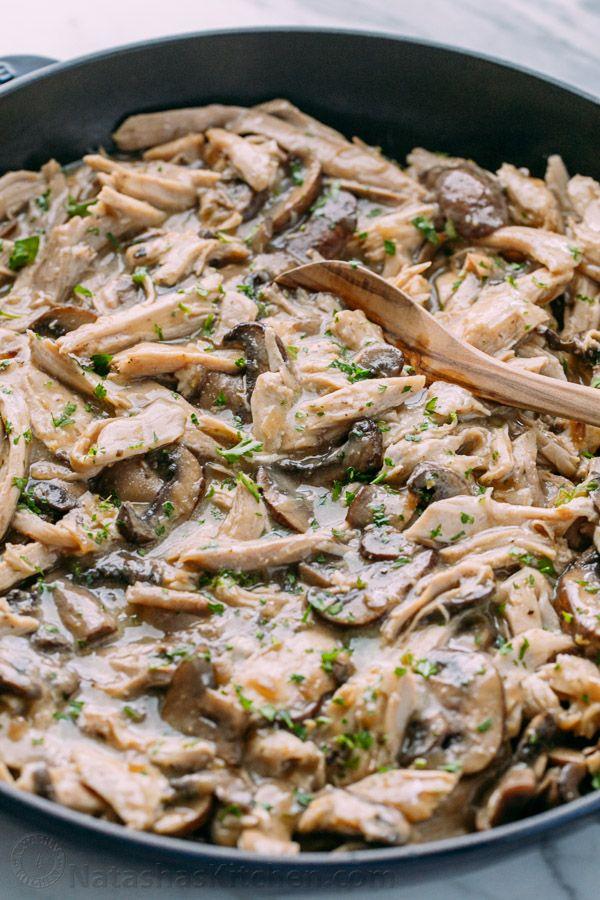 Photo of Leftover Turkey in Creamy Mushroom Sauce – NatashasKitchen.com