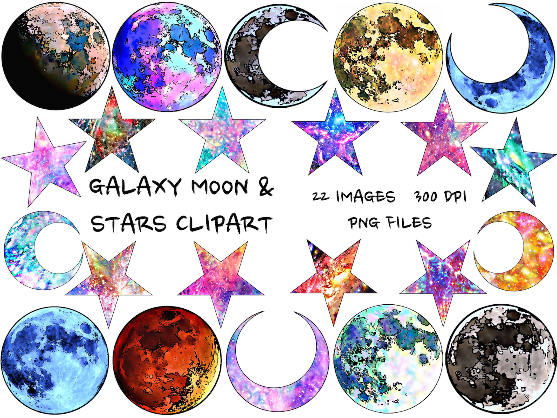 Moon And Stars Clipart Moon Png Stars Png Galaxy Clipart Etsy Watercolor Moon Clip Art Star Clipart