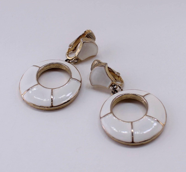 10 Percent Off Vintage Signed Dg Goldtone Ivory White Enamel Circular Geometric Door Knocker Nautical Clip On Dangle Hoop Earrings