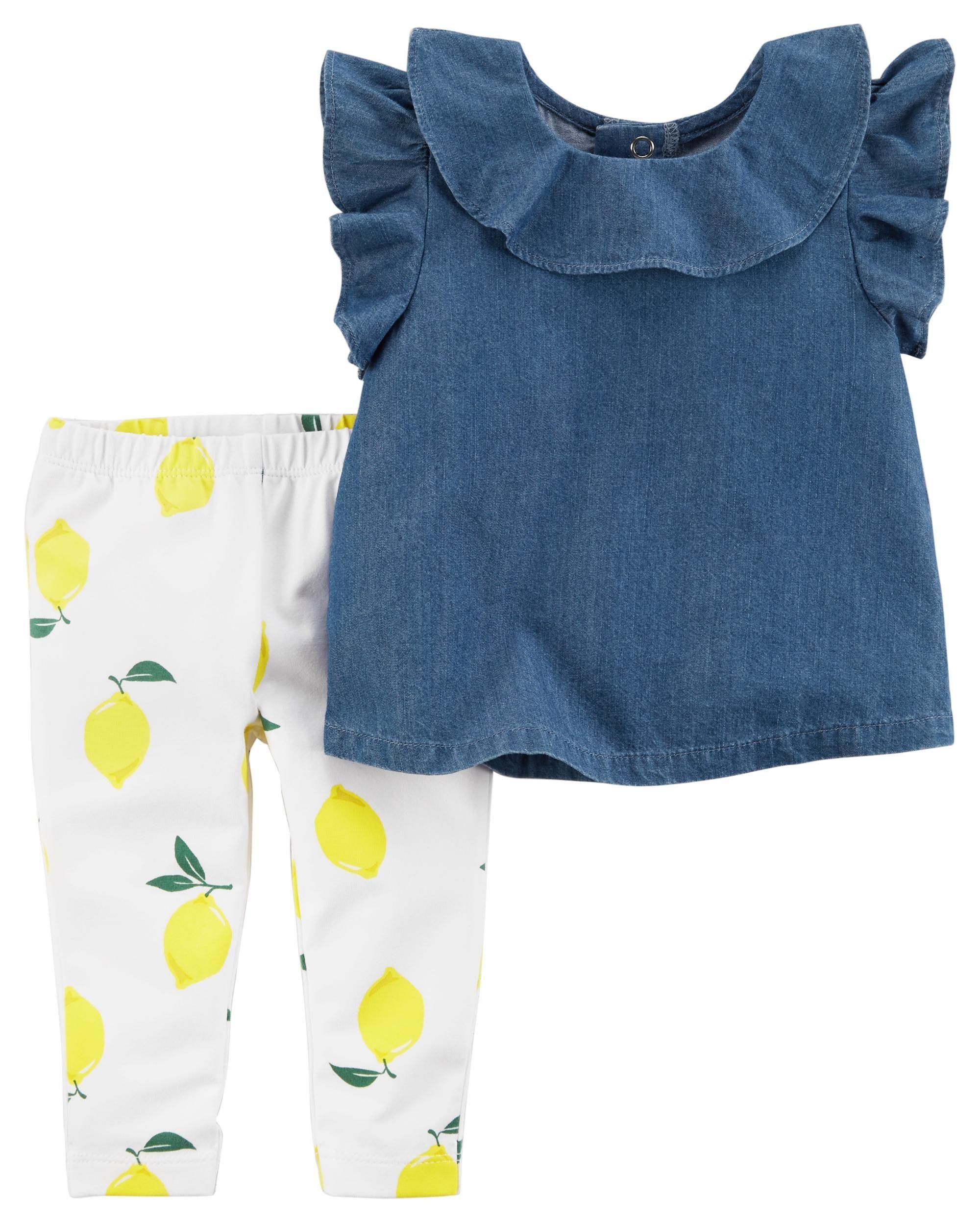 5e3b6fb023 2-Piece Flutter Chambray Top & Lemon Legging Set | Baby Stuff ...