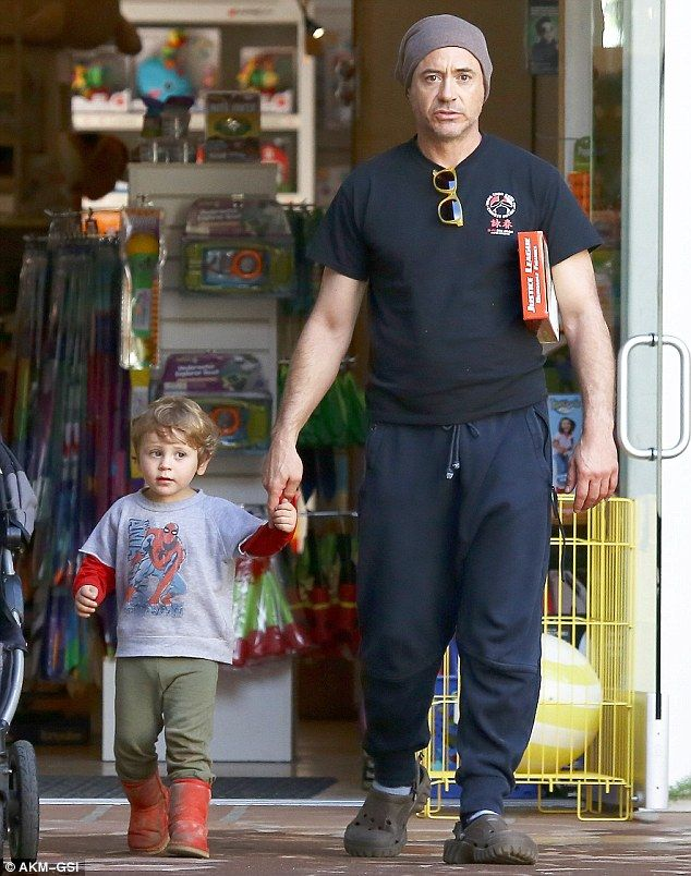 Robert Downey Jr. shops for superhero toys with so