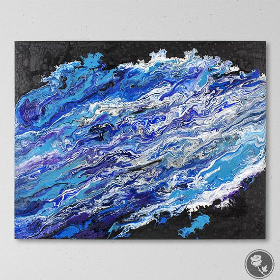 Blue And Black Art Blue Abstract Art Canvas Painting Masculine Wall Art Pour Painting 16x20 Painting Dark Blue Abstract Art Purple Abstract Pour Painting