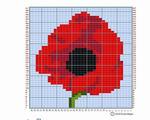 Knitting Charts Flowers : Lest we forget poppy flower chart knitting and crafts