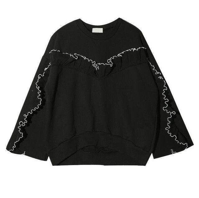 CHICEVER 2017 Summer Women Ruffle Long Sleeve Sweatshirt Hoodies Tracksuit  Tops Pullover Coat Big Sizes Korean 63cd3adefc18