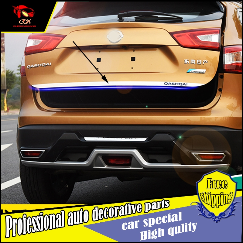 69.01$  Watch now - http://aliidf.worldwells.pw/go.php?t=32786305537 - Car-Styling Rear Door Tail Gate stainless steel back door Trim Cover Sticker For Nissan Qashqai 2016 Exterior trim Decoration