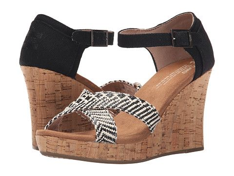 bb6130eef16 TOMS Strappy Wedge Black Woven Cork - Zappos.com