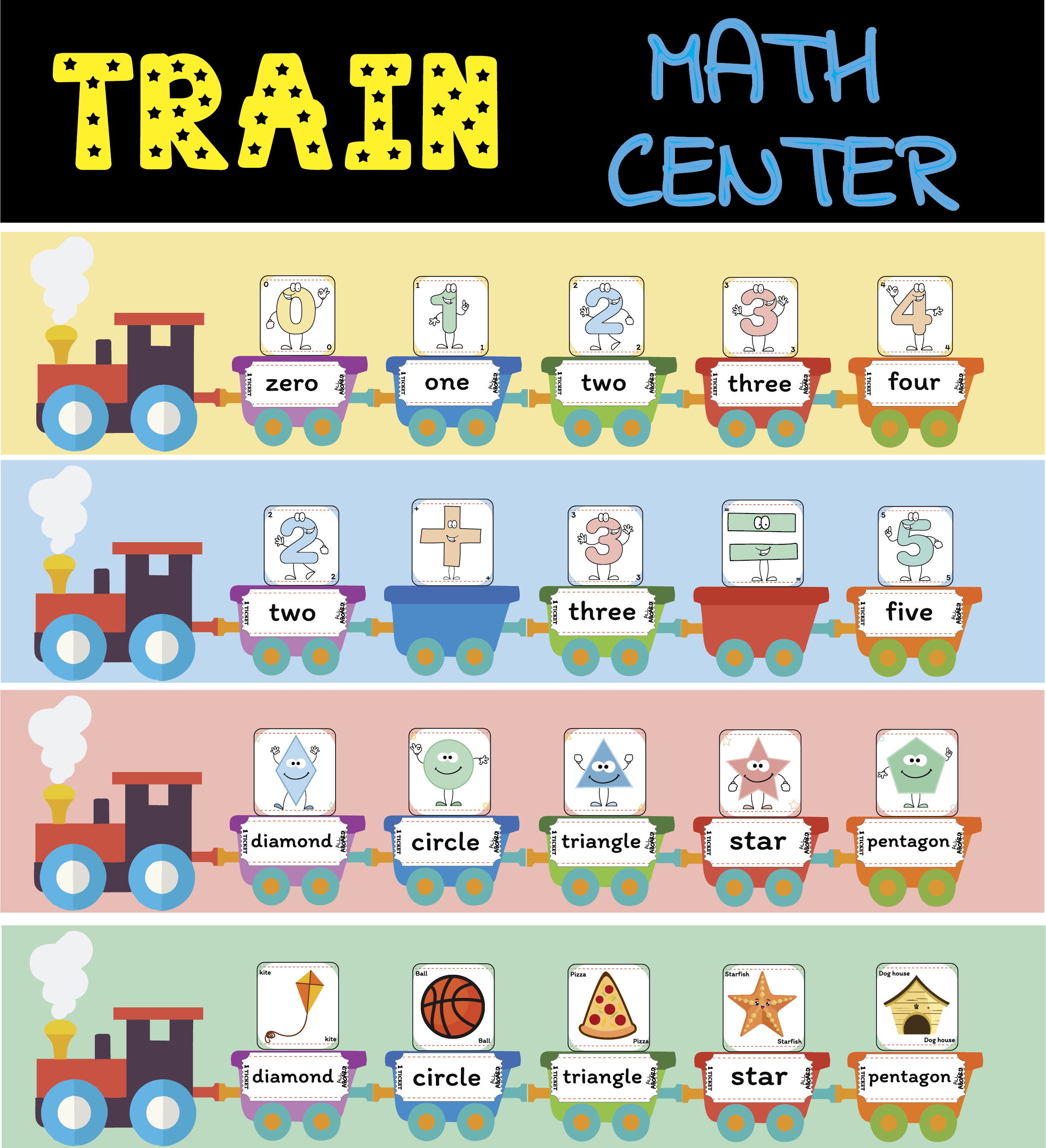 Train Math Center Numbers 0 20 And Shapes
