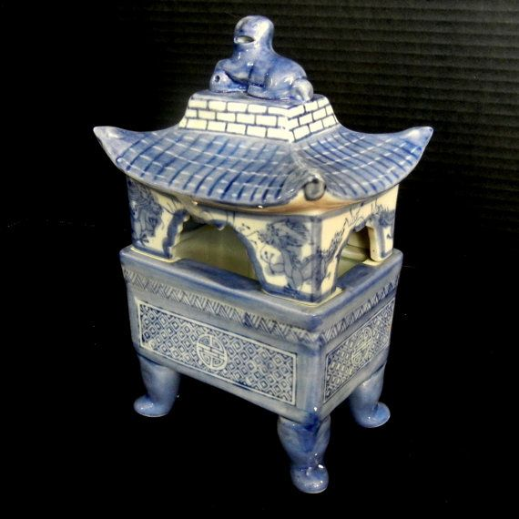 Blue 2 Pc Pagoda Incense Burner / Decorative by EclectibleParts4U, $110.00