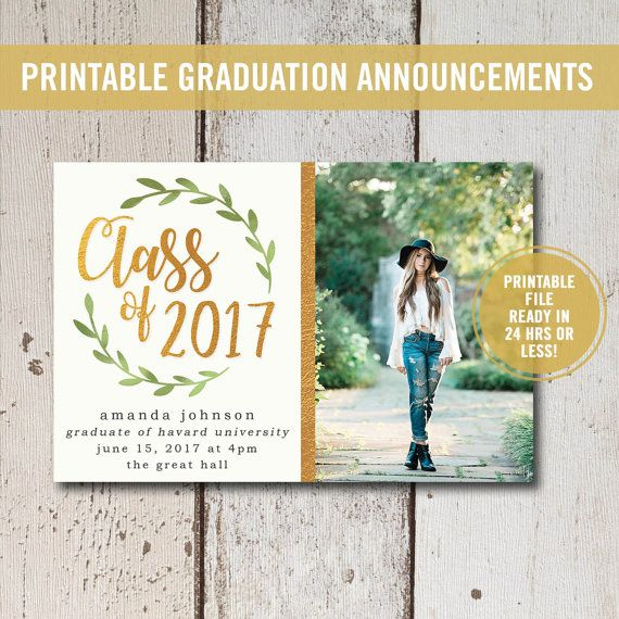 College Graduation Invitation Printable Or Printed High School