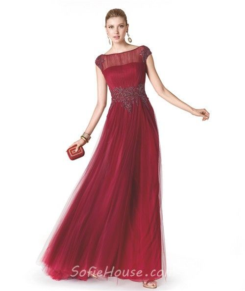 A Line Boat Neck Cap Sleeve Red Tulle Beaded Long Evening Prom ...