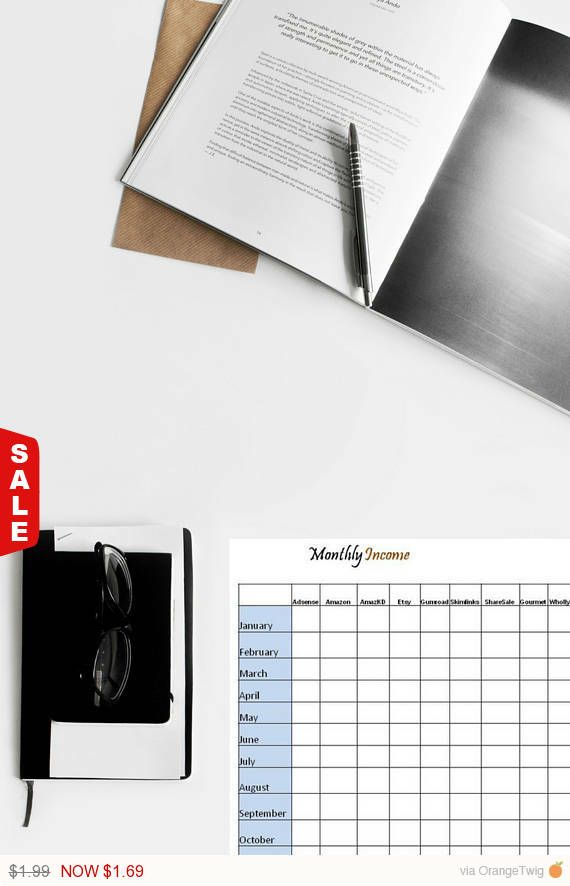 Monthly Income, Monthly Revenue, How Much Earn Each Month, Income - spreadsheet download for mac