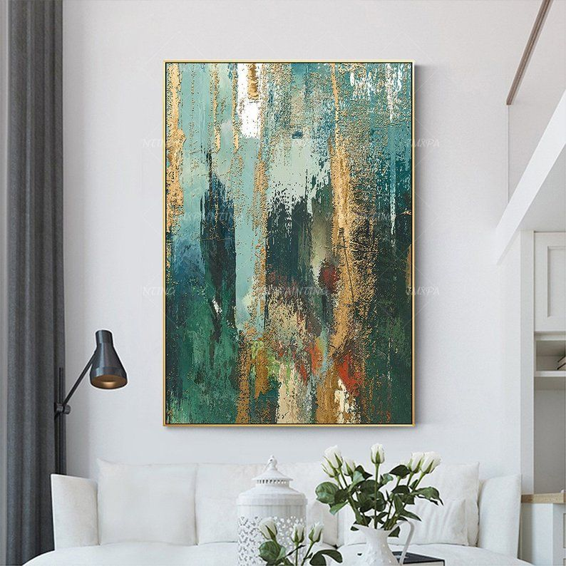 Abstract Painting green print On Canvas ready to hang