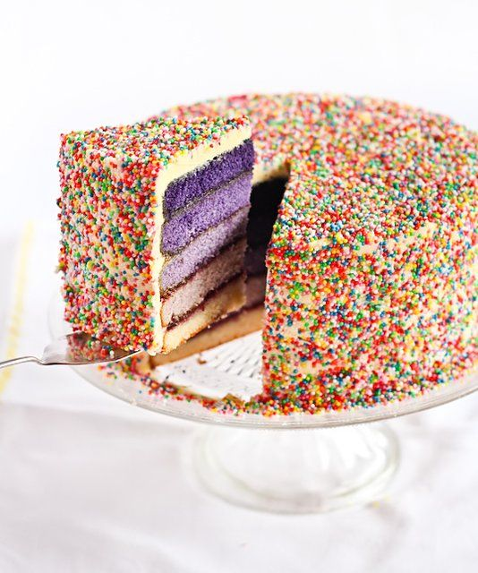 Purple Ombre Sprinkles Cake. I would LOVE to have this as a b day cake.